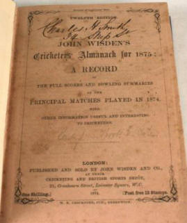 The Rarest Wisden - 1875 - Sold for $48,000 at igavel